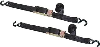 Highland (1156201) 6' Black Surelok Black Cambuckle Tie Down with Hooks - Pair