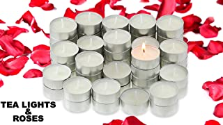 Tea Lights Candles With 200 Silk Rose Petals | Decorative Tea Light Excellent for Weddings, Anniversaries, Birthdays, Church Luminaries, and More | Unscented White Candle Burns 4.5 Hours | 100 Count