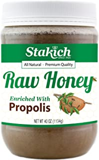 Stakich Propolis Enriched Raw Honey - 40 Ounce - Pure, Unprocessed, Unheated