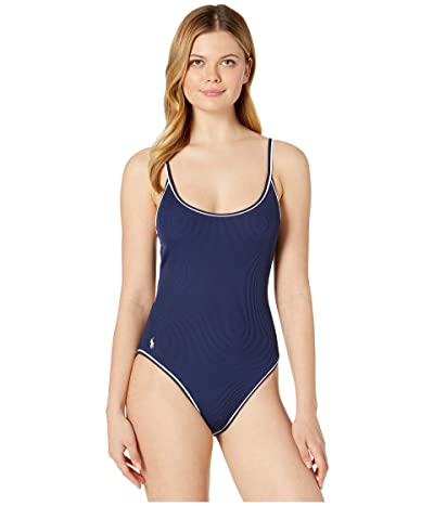 Polo Ralph Lauren Piping Rib Solids Off-the-Shoulder Piped Tank Mio One-Piece (Dark Navy) Women