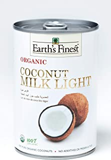 Earth's Finest Organic Coconut Milk Light - 400ml | Reduced Fat Organic Coconut Milk for Professional and Home Cooking | 1...