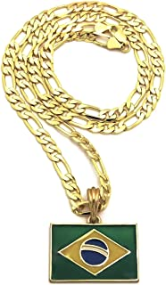 Brazil Flag Small Pendant with 24 Inches Long Figaro Chain Gold Color