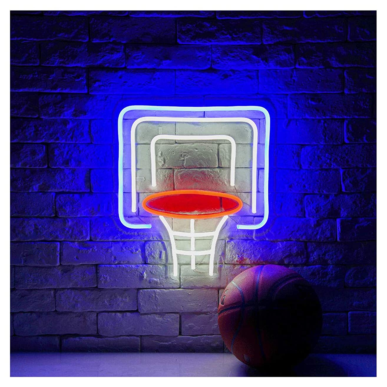 Basketball Hoop LED Neon Sign Lights Art Wall Decorative Lights14.88''x16.6'' (Basketball Hoop-Blue/White/Red)