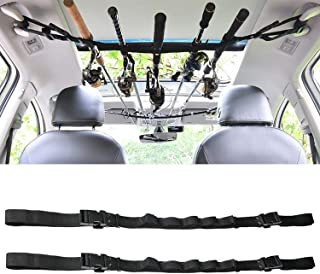 KUDES 2 Pack Vehicle Fishing Rod Holder Adjustable 41 to 62 inch Easy Install Car Fishing Rod Carrier Belt Strap for SUV, Wagons, Van