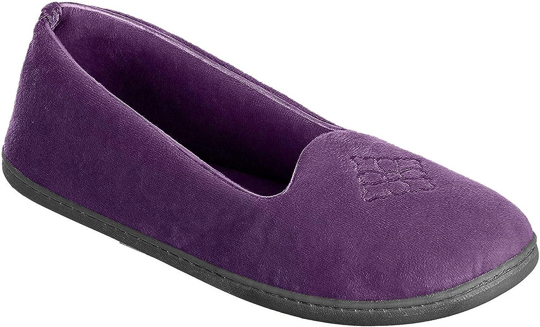 Dearfoams Womens Rebecca Memory Foam Closed Back Slippers Large Smoked Purple