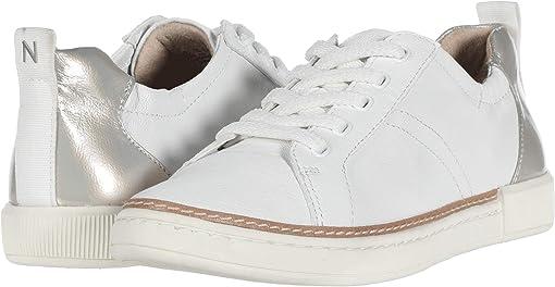 Metallic White Synthetic Tumbled Leather