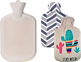 WINNPRIME بطری آب گرم 2 لیتر، لاستیک طبیعی آب گرم کیسه ای با 2 کیسه های پلاستیکی قابل تعویض، عالی برای تسکین درد، فشرده سازی داغ و گرمای درمان