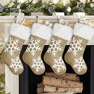 Ivenf Christmas Stockings, 4 Pack 20 inches Large Snowflake Yellow Burlap Feel Stockings with White Plush Faux Fur Cuff, for Family Holiday Home Decor Xmas Party Decorations