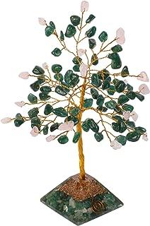 Crocon Green Aventurine & Rose Quartz Gemstone Money Tree Feng Shui Bonsai with Orgone Pyramid Base for Energy Generator Chakra Stone Balancing Reiki Healing Spiritual Home Decor Size: 6-7 Inch