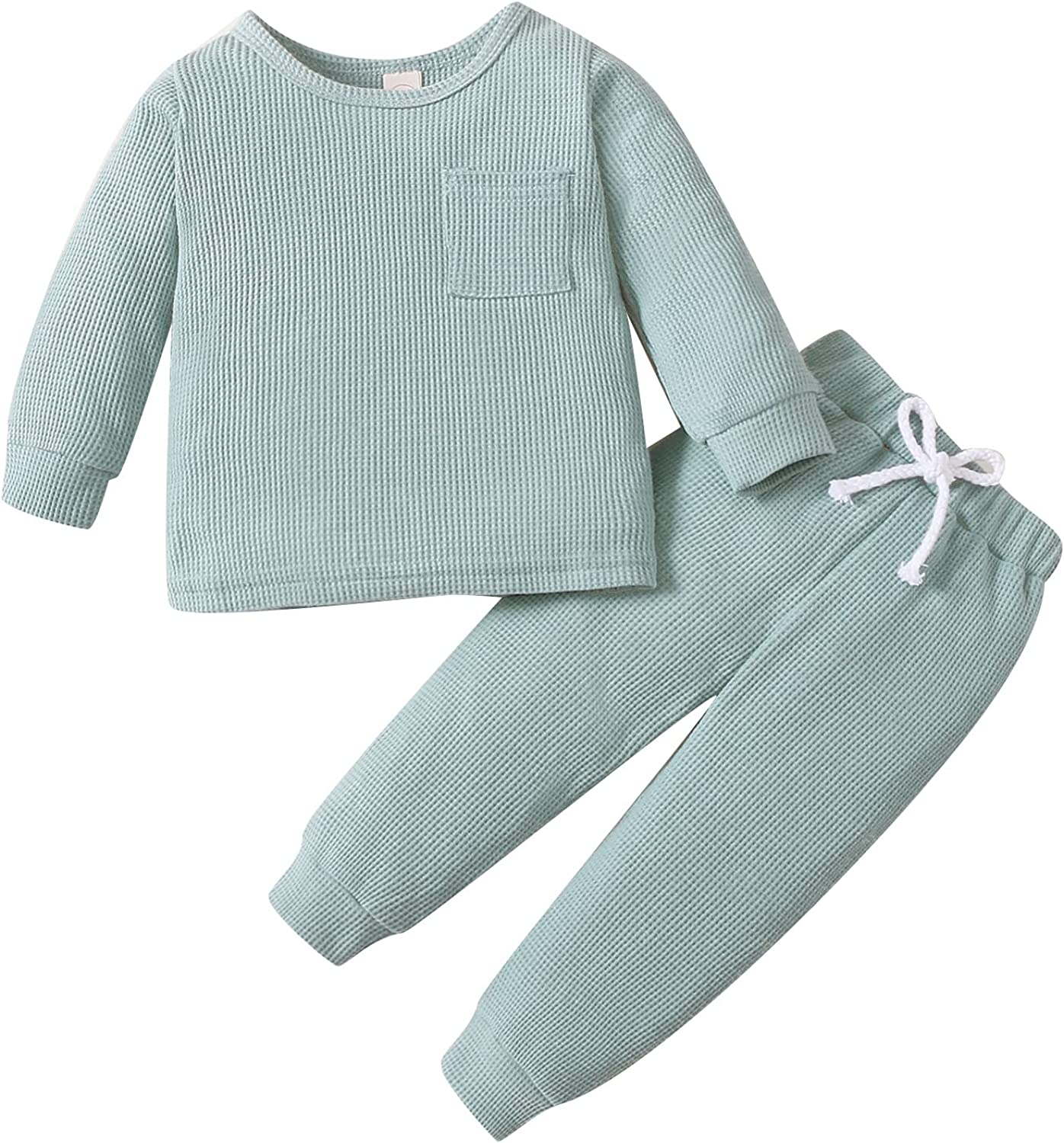 Winter Newborn Baby Girl Boy Clothes Unisex Infant Baby Solid Outfit Waffle Top T-shirt Elastic Pant Toddler Ribbed Outfit