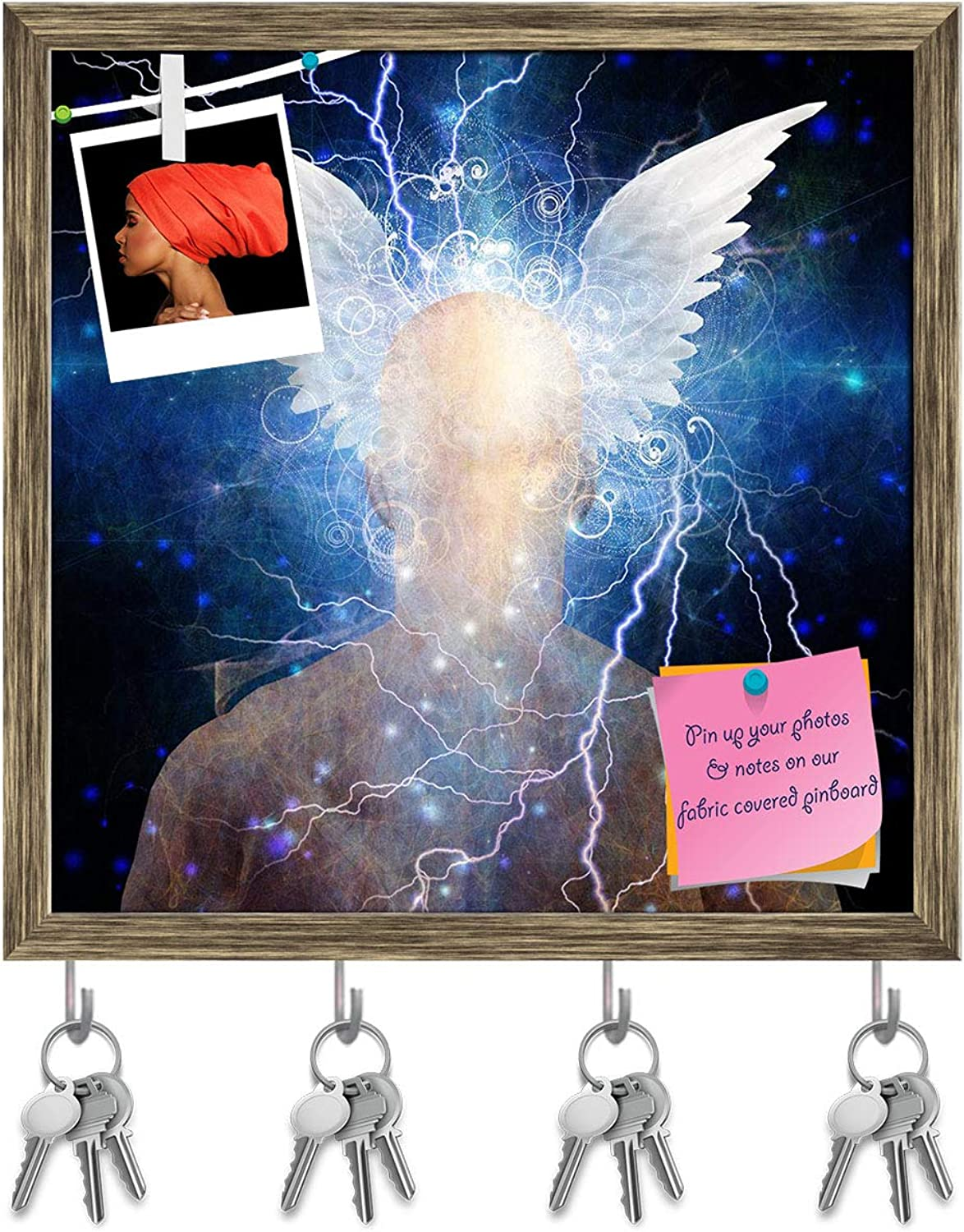 Artzfolio Man's Head with Stars & Clouds Key Holder Hooks   Notice Pin Board   Antique golden Frame 20 X 20Inch
