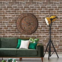 "HeloHo 196.8"" X 17.71"" Vintage Brown Brick Wallpaper Peel and Stick Wallpaper 3D Faux Textured Self Adhesive Wallpaper Rem..."