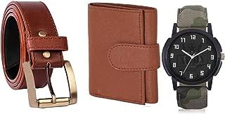 Mundkar Men's Accessories Combo of Wallet Belt and Watch (Tan, Brown)