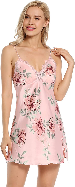 BellisMira Women's Floral Satin Slip Silk Sleepwear Lace Chemise VNeck Nightgowns