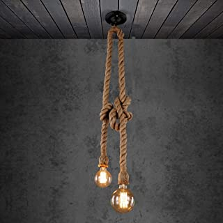 BJLWT American Hemp Rope Chandelier Ceilings Light Restaurant Creative Lamp Nordic Cafe Art Bar Decoration Pendant Lamp Single Double Head (Size : Double 1m)