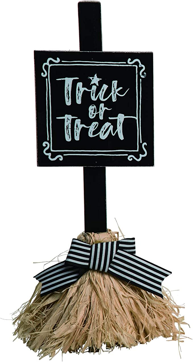 Amazon Com One Holiday Way Whimsical Witch Broom Halloween Sign Tabletop Halloween Decoration Trick Or Treat Home Kitchen