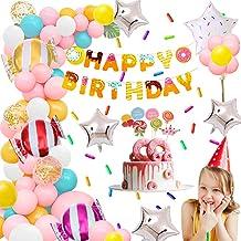 AYUQI Decoración de cumpleaños Niñas, Donut Feliz cumpleaños Banner Decoraciones de fiesta Rosa Azul Oro amarillo Confeti Globos de papel de aluminio para Niñas Niños Baby Shower Artículos de fiesta