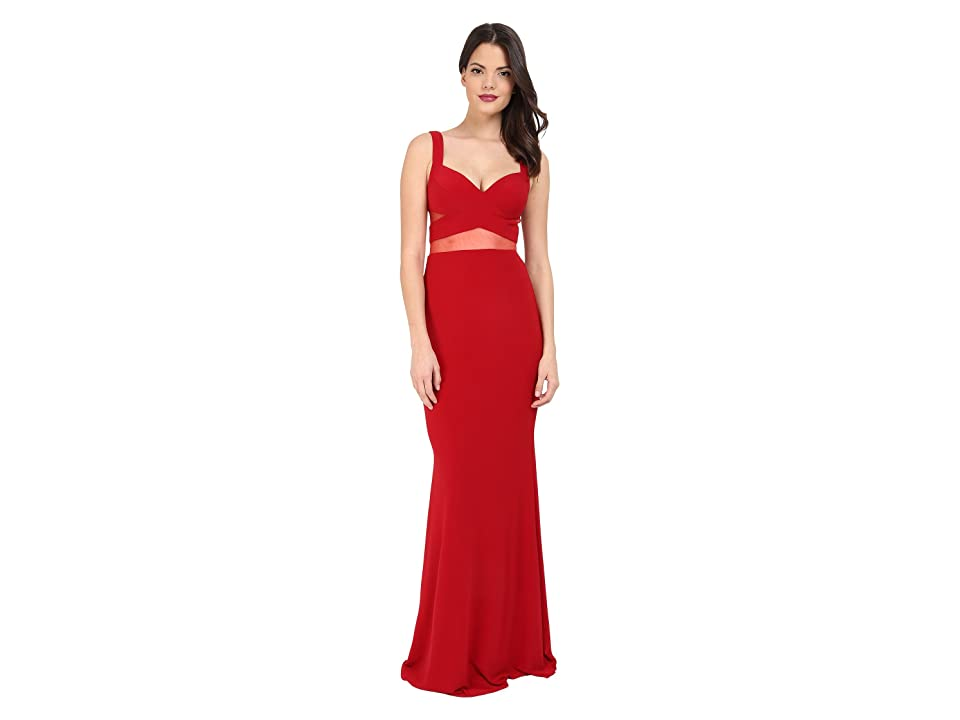Faviana Jersey Gown w/ Illusion Cut Outs 7744 (Ruby) Women