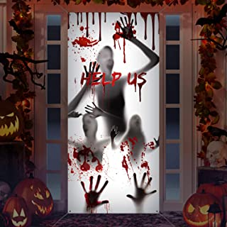 Large Halloween Window Door Cover Fabric Scary Bloody Handprint and Shadowy Figure Halloween Props Poster Banner for Halloween Haunted House Decorations Halloween Supplies (Help Us)