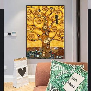 T-YIFUZX DIY Pintar por números Sin Marco El árbol de la Vida de Gustav Klimt Una Copia de la Famosa Pintura del árbol de la Vida de la Sala de Gustav Klimt 40x50cm