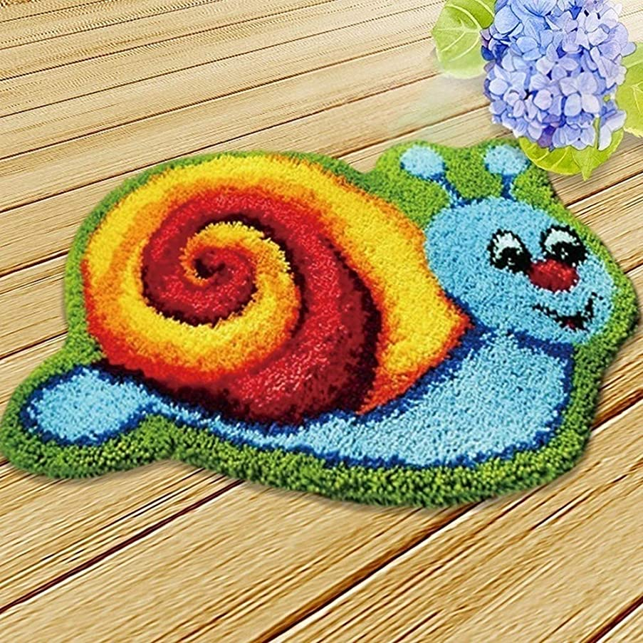 MLADEN DIY Crochet Yarn Kits,Needlework Latch Hook Kit Unfinished Crocheting Rug Yarn Cushion Embroidery Carpet Set Snail,19.5