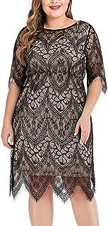 Women's Scooped Neckline Floral lace Top Plus Size Cocktail Party Midi Dress