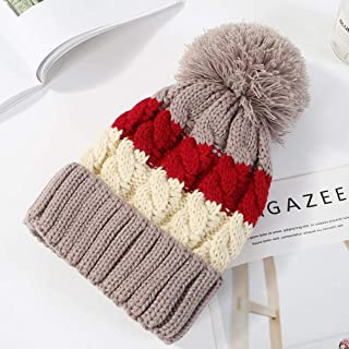 Knitted Hats for Women Female Winter Hair Ball Curling Knit Hat Casual Ear Protection Plus Velvet Warm Hat