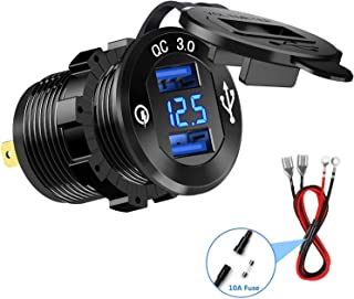 Cllena Quick Charge 3.0 Car Charger, 12V/24V 36W Dual QC3.0 USB Charger Socket Power Outlet with LED Voltmeter for Car Marine Boat Rv ATV UTV Truck Golf Cart etc. (Blue)