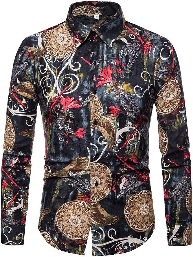 Men Long Sleeve Button Down Shirt Stylish Floral Print Casual Dress Shirt