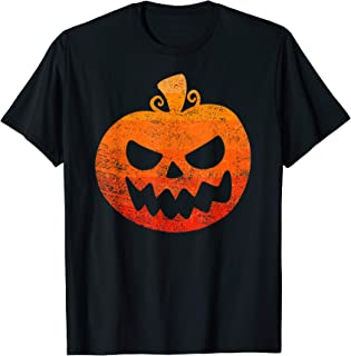 Vintage Retro Halloween Pumpkin Face Scary Creepy Costume T-Shirt