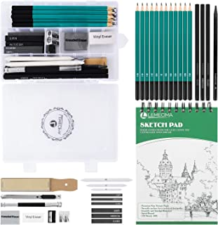 Lemecima Crayon Dessin Cahier de Dessin Professionnel avec Boîte de Papeterie Carnet de Croquis Fusains pour Dessin pour A...