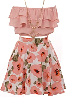 3 PCS Ruffle Sleeve Off Shoulder Crop Top Floral Clothing Skirt Set