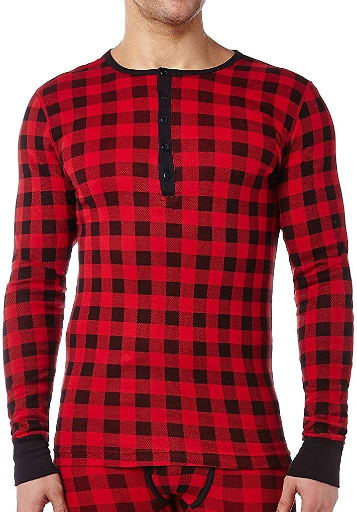 x 2 ist Mens Essential Cotton Long Sleeve Henley T-Shirt