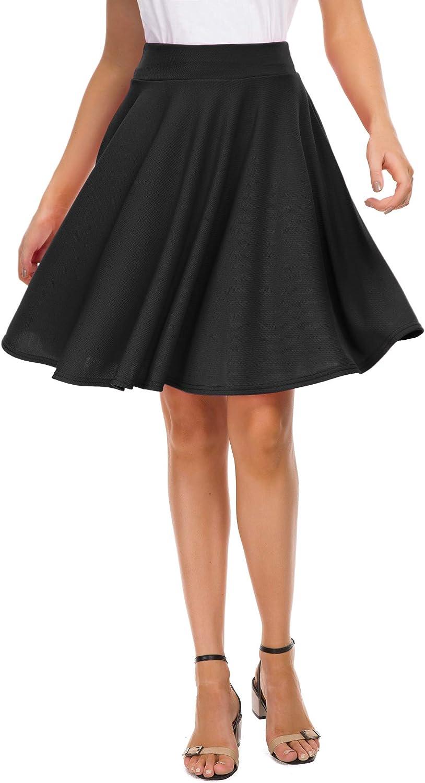 EXCHIC Women's Basic Skirt A-Line Midi Dress Casual Stretchy Mini Skater Skirt