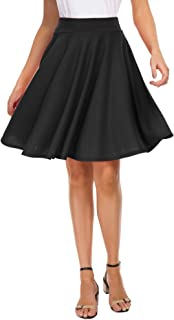 Women's Basic Skirt A-Line Midi Dress Casual Stretchy Skater Skirt
