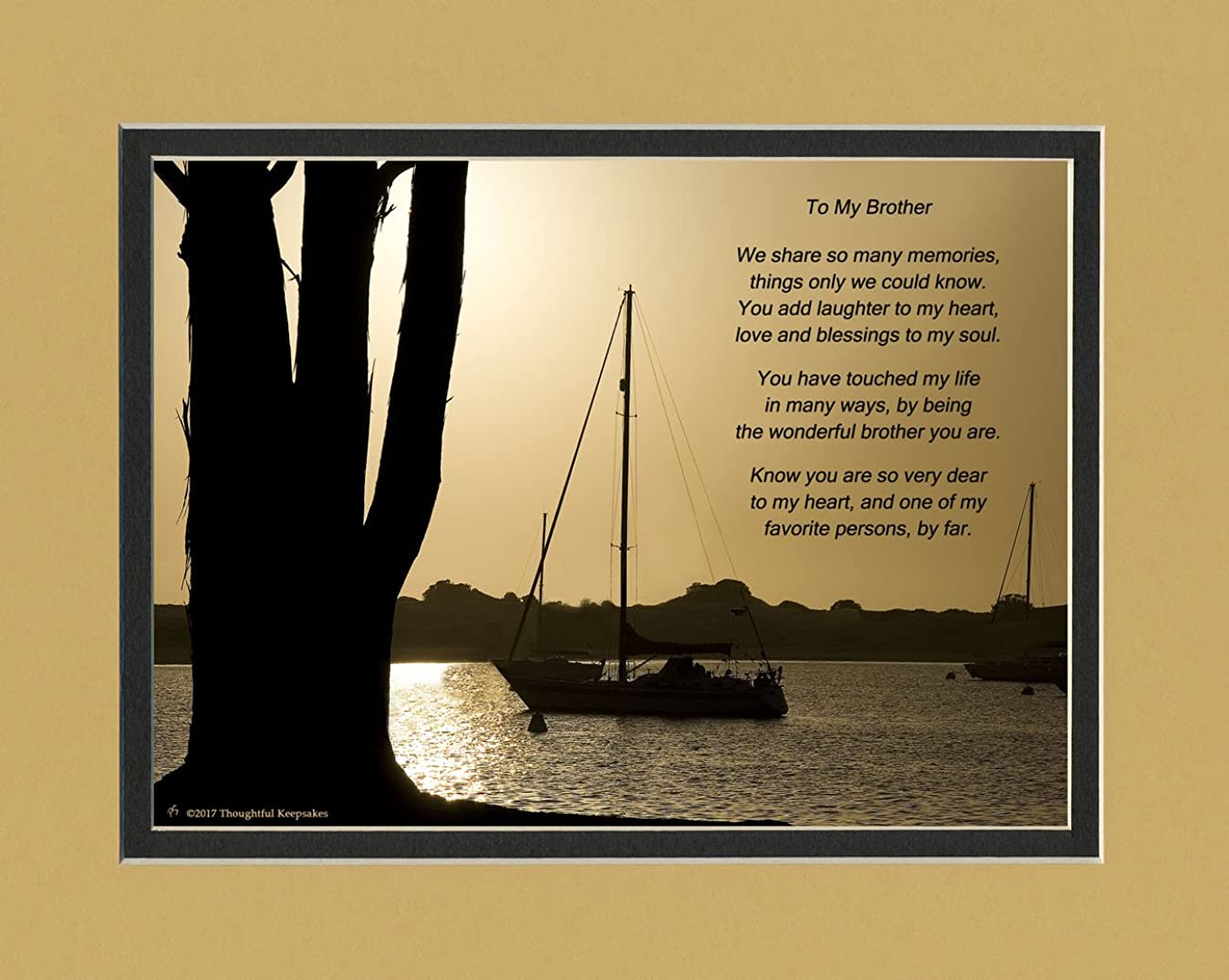 Brother Gift with You Have Touched My Life in Many Ways, By Being the Wonderful Brother You Are Poem. Boats at Dusk Photo, 8x10 Matted. Special Birthday or for Brother.