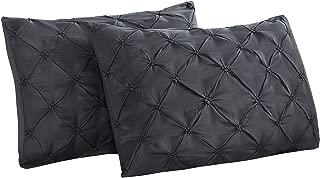 Vaulia Soft Microfiber Decorative Pillow Shams, Well Designed Pinch Pleated Pattern - Black Color, Set of 2