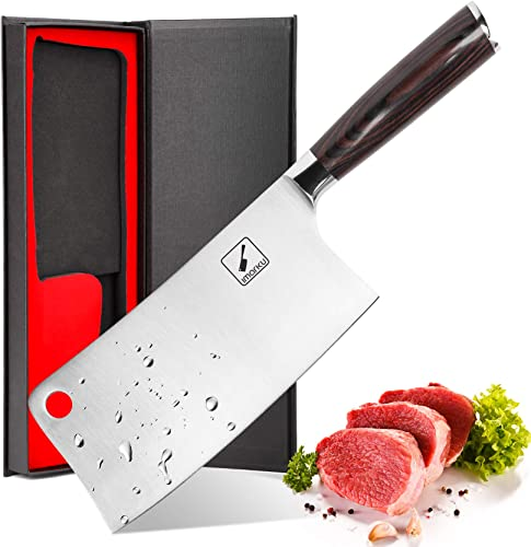 new arrival Cleaver Knife - imarku 7 Inch Meat Cleaver - 7CR17MOV German High new arrival Carbon Stainless sale Steel Butcher Knife with Ergonomic Handle for Home Kitchen and Restaurant, Ultra Sharp online