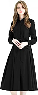 Women Elegant Pleated Shirt Dress with Long Sleeve Pleated Belted A-Line Dress Style