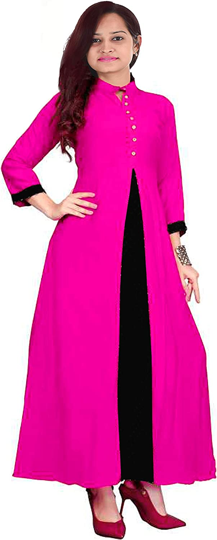 Lakkar Haveli Indian Womens Long Dress Pink Color Ethnic Maxi Dress Wedding Wear Casual Tunic Frock Suit