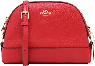 COACH Dome Crossbody Shoulder Bag Classic Leather True Red Gold F76673