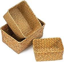 Yesland Seagrass Storage Basket, Multisize Handmade Rattan Shelf Baskets & Home Storage Bins Baskets for Decoration, Picni...