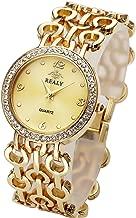 Top Plaza Women Elegant Fashion Bracelet Analog Quartz Watch Rose Gold Tone Rhinestone Case Big Face Large Dial Wide Band Waterproof Cuff Watch