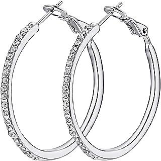 Hoop Earrings, Stainless Steel Hoop Earrings for Women Girls CZ Cubic Zirconia Rhinestone Fashion Jewelry 1.38in, 1.5in, 1...