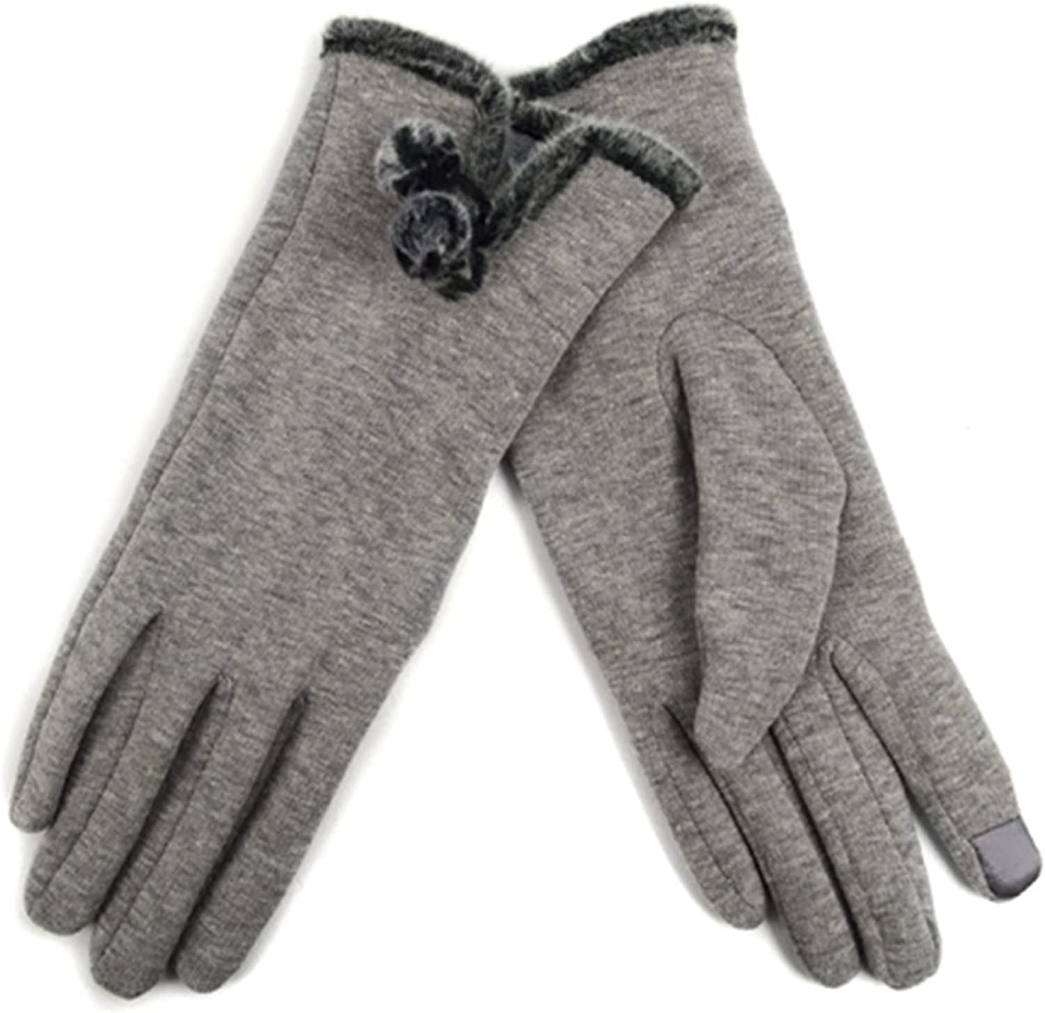 Women's Silver Grey Stylish Touch Screen Gloves with Fur Trim & Fleece Lining - S/M