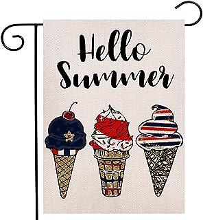 ترحيب الصيف آيس كريم حديقة العلم مزدوج الجوانب، 4 يوليو يوم الاستقلال الوطنية يوم الاستقلال ديكور خارجي 12.5 × 18 بوصة