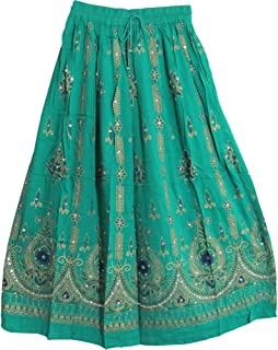 Womens Indian Sequin Crinkle Broomstick Gypsy Long Skirt (Mint Green)