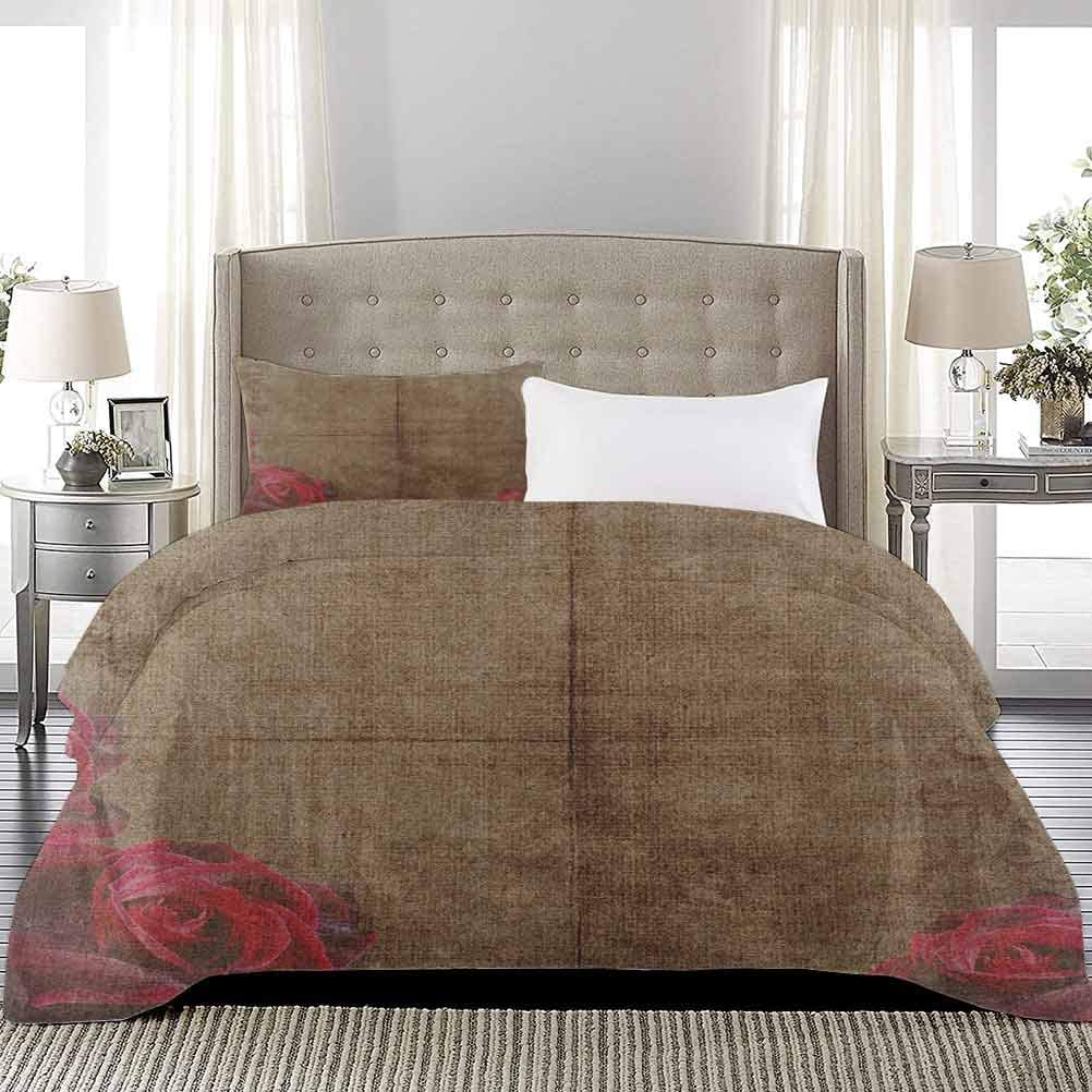Bedspread Coverlet Set Year-end annual account Artwork with Image Roses Ornamental Frame Gifts