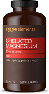 Amazon Elements Chelated Magnesium Glycinate, 270 mg per Serving (2 Tablets), Vegan, 240 Tablets (Packaging may vary)