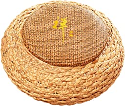 Floor Pillow Tatami Cushion Woven Straw Cushion Natural Woven Grass Cushion Round Floor Padded Yoga Mat Meditation Pillow ...